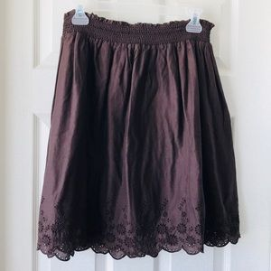 Brown Embroidered Skirt